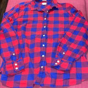 J. Crew Plaid Boy Fit Women's Flannel Shirt Red